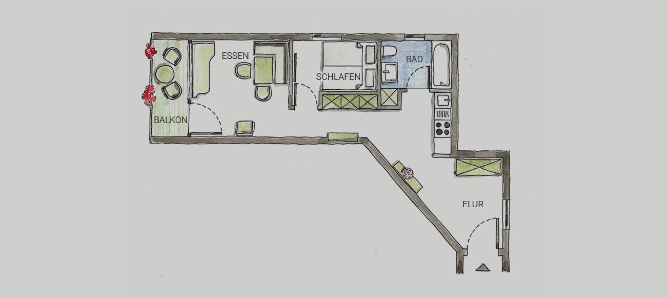 Grundriss Appartement Gamskar